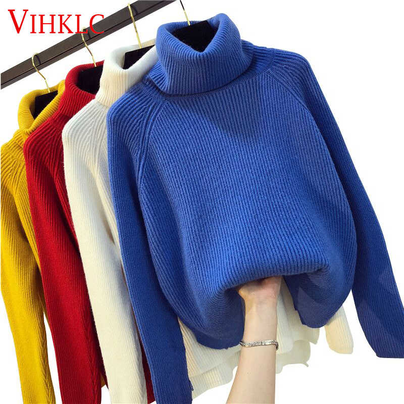 Women Turtleneck Winter Sweater Women 2019 Long Sleeve Knitted Women Sweaters And Pullovers Female Jumper Tricot Tops  C421