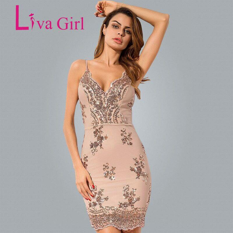 Liva Girl 2018 Black Gold Sexy Party Mini Sequin Dress
