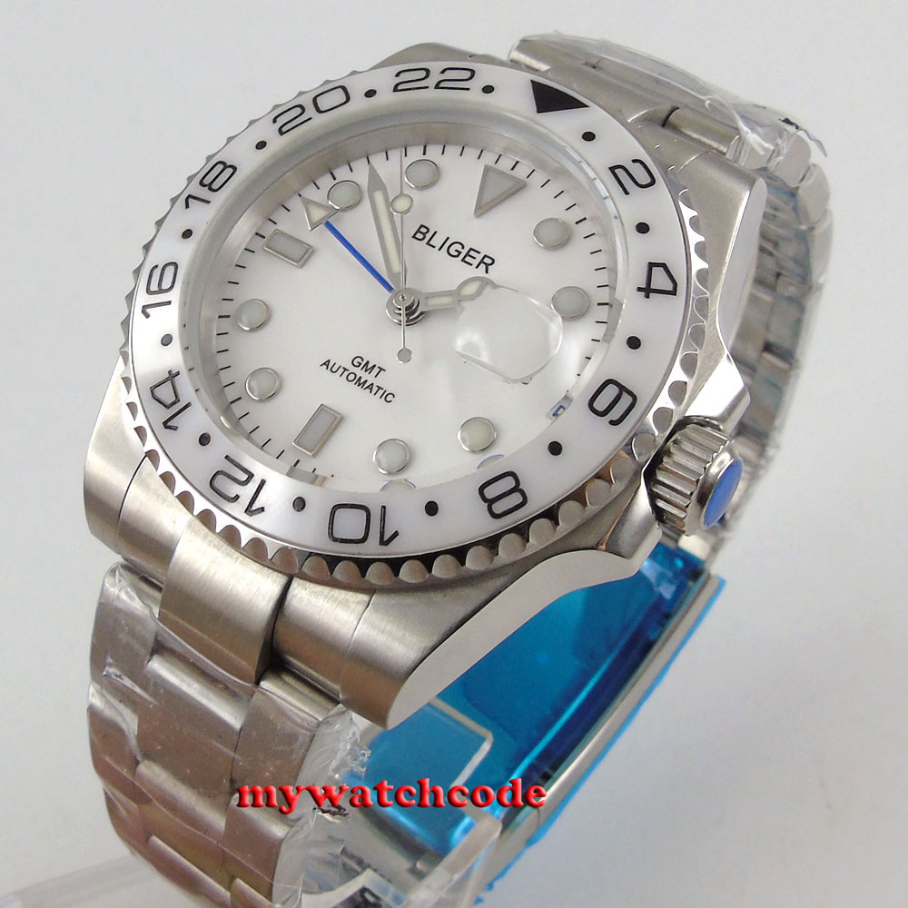 40mm bliger white dial GMT ceramic Bezel sapphire glass automatic mens watch 199