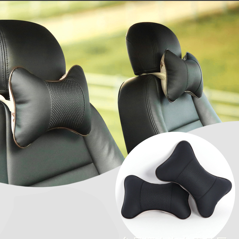 1PCS Car Pillow High Quality Perforating Design Danny Leather Hole-digging Car Headrest Supplies Neck Pillow Auto Accessories