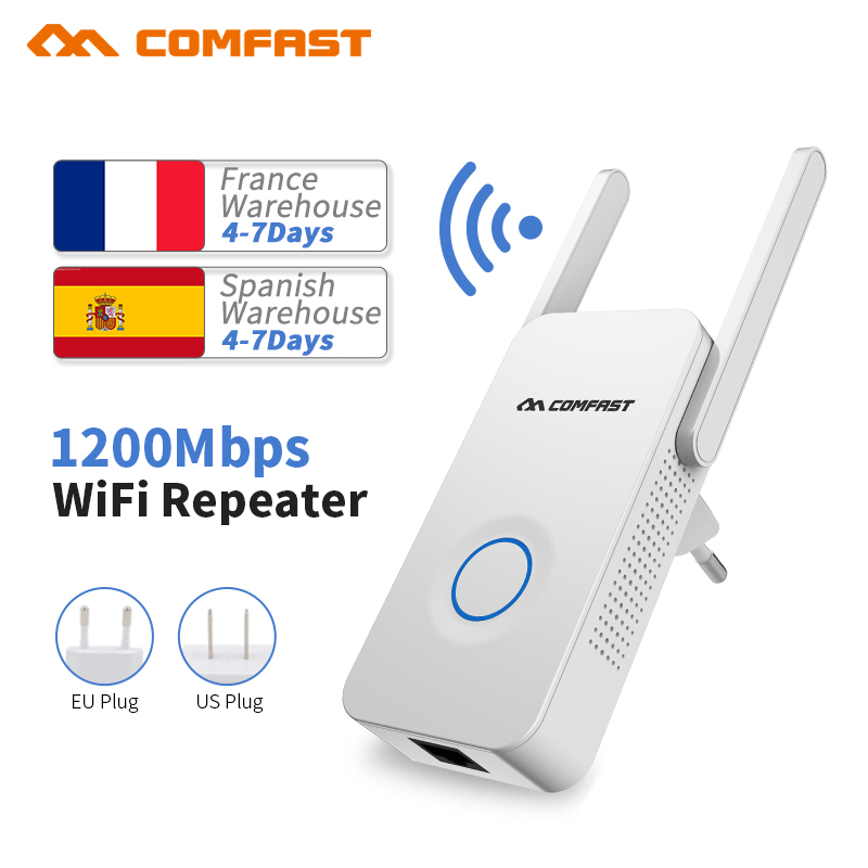 Comfast 1200Mbps WIFI Repeater Router Access Point Dual Band Wireless Wi-Fi Repeater Extender 2 External Antennas Amplifer original xiaomi wifi electric power cat repeater 300mbps 2 4g wireless wi fi repeater network router 802 11n dual antennas