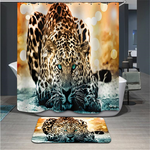Leopard Shower Curtain 3d Modern Fabric Creative Zebra Bath Tiger Lion King Animal Waterproof Bathroom Hook