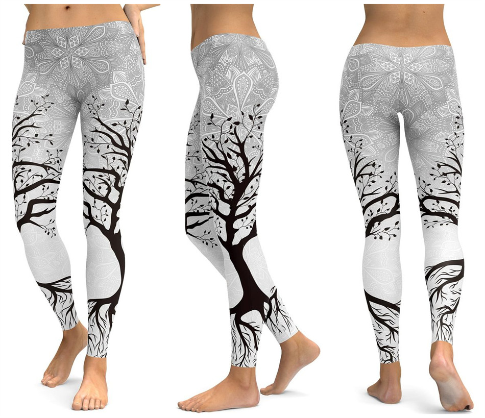 Print Yoga Pants Women Unique Fitness Leggings Workout Sports Running Leggings Sexy Push Up Gym Wear Elastic Slim Pants 25