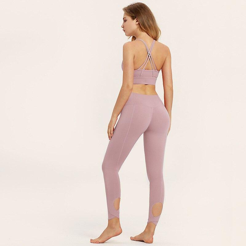 Selena Fanny 2 pcs Costume de Remise En Forme De Yoga Pour Les Femmes Sport Leggings et Top Soutien-Gorge Rembourré En Cours D'exécution Ensemble Gymnase de Sport formation Vêtements