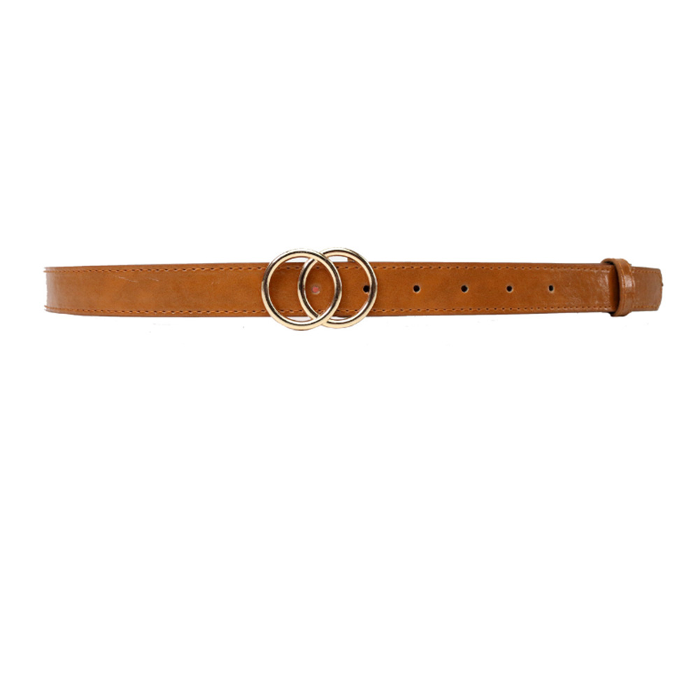 Soft Faux Leather Double Ring Belt Buckle for women 15
