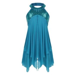 Image 2 - Girls teens 홀터넥 스팽글 백 레스 발레 댄스 레오타드 드레스 키즈 서정적 인 현대 댄스 의상 체조 레오타드