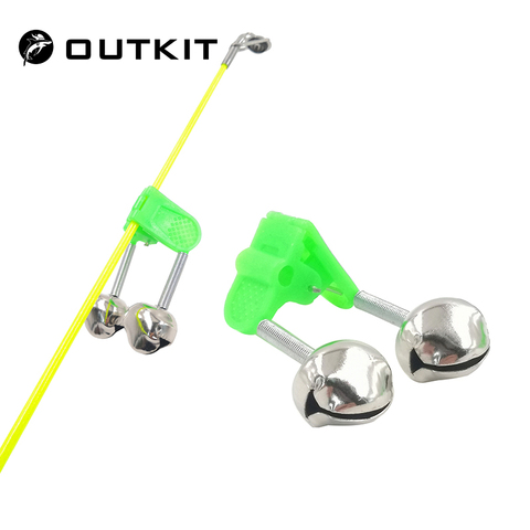 OUTKIT 5pcs/lot Fishing Bite Alarms Fishing Rod Bell Rod Clamp Tip Clip Bells Ring Green ABS Fishing Accessory Outdoor Metal Pakistan