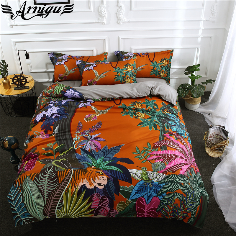 ARNIGU New style 3D Scenic print Polyester bedding set Twin Double Queen King size Sheet Pillowcase & Duvet cover sets Orange
