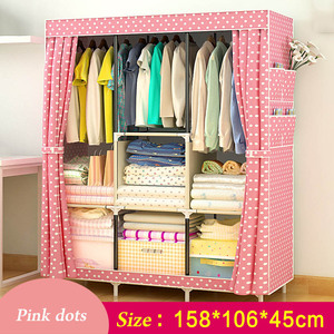 Image 5 - Simple Wardrobe Non woven Steel pipe frame reinforcement Standing Storage Organizer Detachable Clothing Closet Bedroom furniture