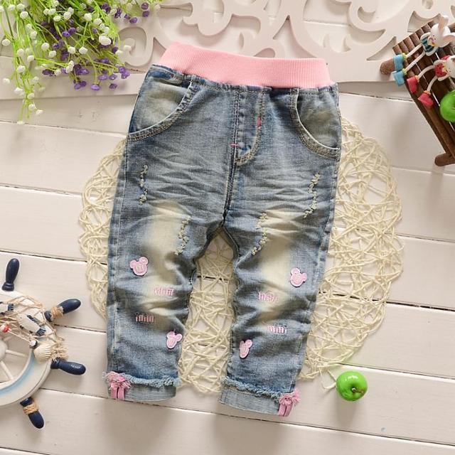 2017 Nova Primavera Clássico Do Bebê Meninas calças de Brim Macias Calças Moda Calças das Crianças Calças de jeans Infantil Denim Macio