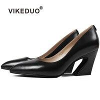 Vikeduo Для женщин обувь 2018 летние Бизнес черный ручной работы дамские туфли из натуральной кожи Свадебные Sapatos плюс Размеры Zapatos de Mujer