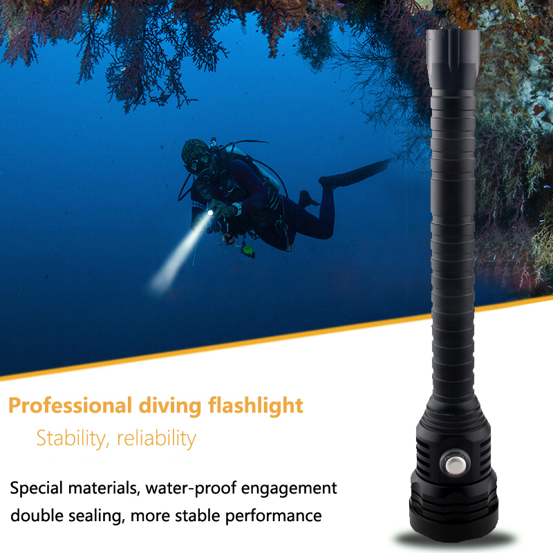 Купить с кэшбэком A29 Super Brightness XHP70 LED chip White Light 4000 Lumens Diving Flashlight Tactical 18650 Torch Underwater 100m Waterproof