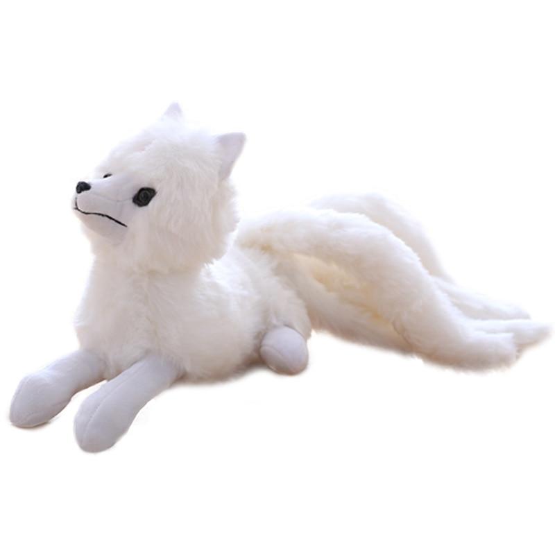 Super Cute Soft White Nine Tails Fox Plush Toys Stuffed Animals Nine-Tailed Fox Kyuubi Kitsune Dolls Creative Gifts For Girls