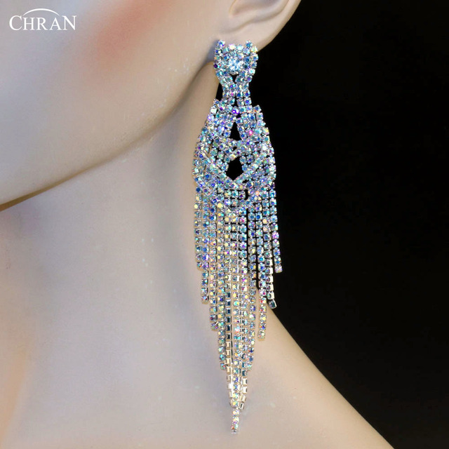 Chran Ab Rhinestone Wedding Statement Earrings For Bride Elegant Silver Color Drop Long Tels Prom