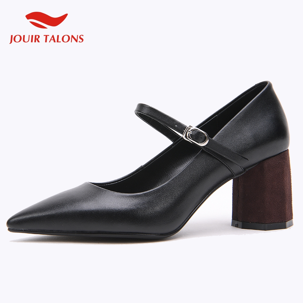 JOUIR TALONS conception de marque Sexy en cuir véritable Mary Janes femme chaussures Chunky TALONS hauts bout pointu chaussures femme