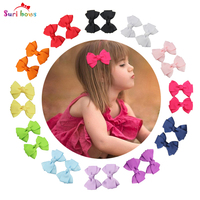 5 Pairs Lot Suri Bows Children Headwear Bows Hair Clips For Baby Girls Polyester Ribbon Flower