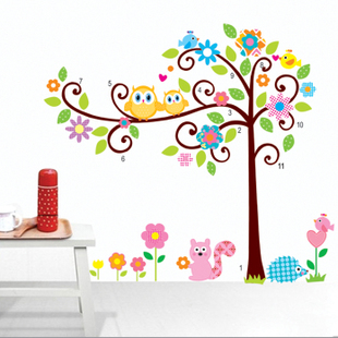 Design/RoomMates Scroll Cute Owl Tree Peel U0026 Stick Wall Decal Kindergarten  110*120