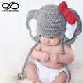 Lovely Fashion Fancy Newborn Baby Boy Girl Elephant Bowknot Photo Prop Beanie Crochet Wool Hat Newborn -12 Months Knitted Caps