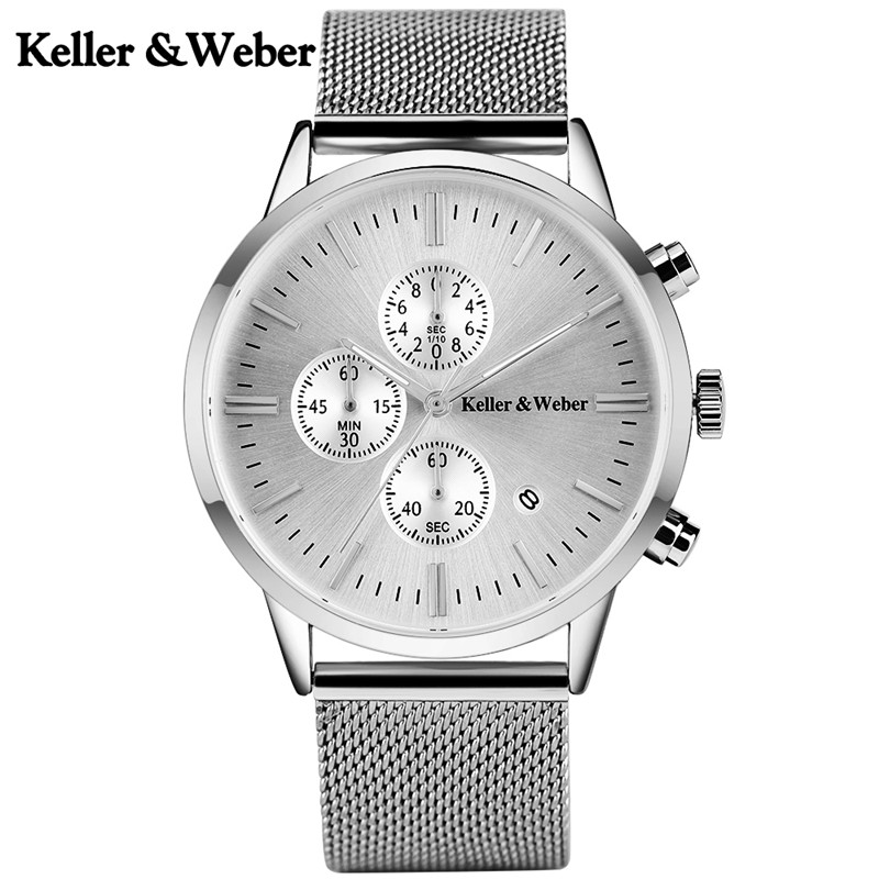 цена на Keller & Weber Luxury Men's Quartz Chronograph Watches Date Display Stainless Steel Watchband Hook Buckle Sport Mens Watch Gift