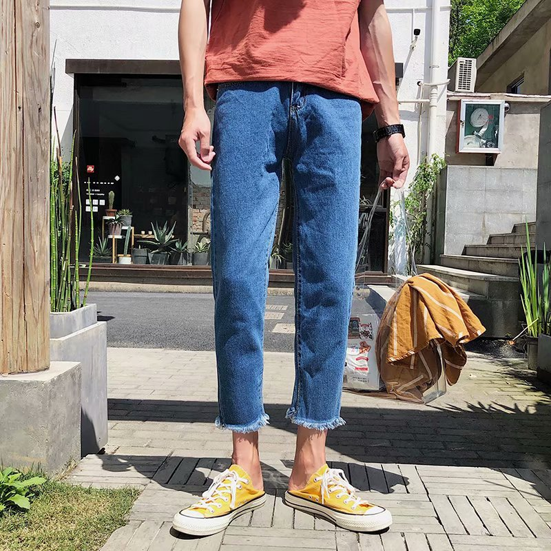 wholesale 2019 Spring Autumn Small fresh tassel ankle length pants men 39 s Korean simple harem teenagers Harajuku style boys jeans in Jeans from Men 39 s Clothing
