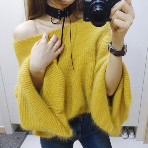 eb23530c08b Women fashion sexy sweater slash neck off shoulder flare sleeve furry sweater  ladies solid color knitwear pullover free shipping