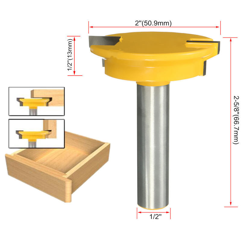 1/2'' Shank Drawer Front Joint Router Bit Wood Drilling Carbide Cutter Reversible 1/2 inch Shank Woodworking Machinery Tools high grade carbide alloy 1 2 shank 2 1 4 dia bottom cleaning router bit woodworking milling cutter for mdf wood 55mm mayitr