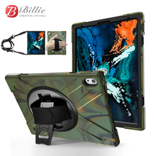Case For iPad Pro 12.9inch (2018) Kids Safe Shockproof Heavy Duty Silicone+PC Kickstand Case / Wrist+Shoulder Strap Cover +Film for ipad air 1 pirate tablet case cover kids safe shockproof heavy duty silicone pc kickstand case with wrist shoulder strap