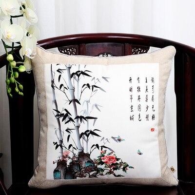 Классические Лоскутные цветочные шелковые наволочки для декоративных подушек подушечки высокого качества стул для дома офиса диванная подушка крышка - Цвет: Ink bamboo