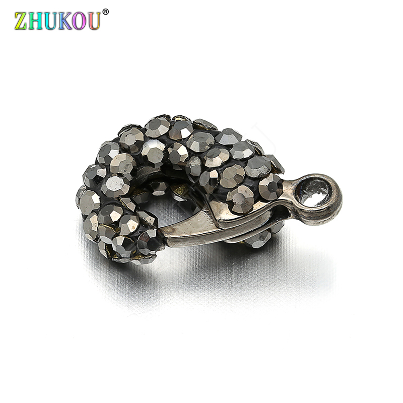 10*17mm Brass Cubic Zirconia  Gunmetal Lobster Clasps Hooks For Diy Jewelry Findings Accessories, Hole: 1.5mm, Model: VK45