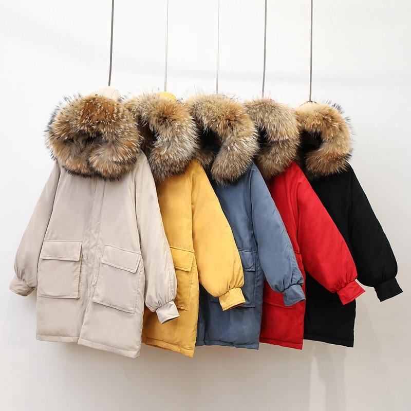 Parka   Women's Winter Long Down Jacket Casual Fur Collar Hooded Female Jacket Warm Thick Long Coat Women's Coat Plus Size