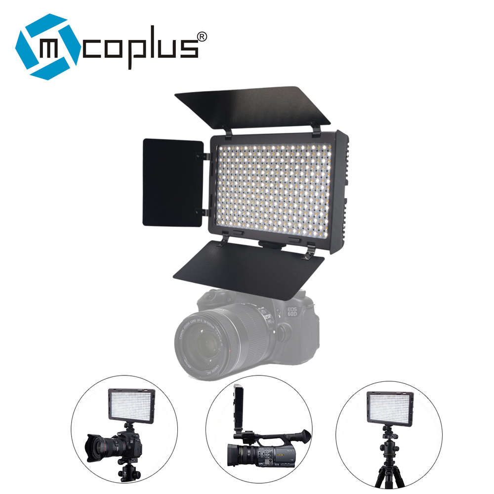 Mcoplus LED-340B CRI95+ Bi-color Ultra-thin On-camera Video LED Light for DSLR Camcorder Video Camera Video Shooting