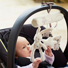 Baby Rattles Rabbit Hanging Bed Safety Seat Plush Toys Hand Bell Multifunctional Plush Toy Stroller Gifts Rabbits Toddler Toys