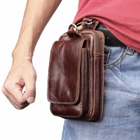 Genuine Cow Leather Mini Casual Bag Men's Waist Belt Bags case For Alcatel A3 XL 9008D for Nokia Lumia 1520 1320
