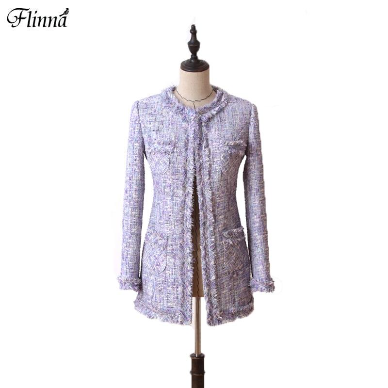 O Neck Slim Tweed Cloth Open Stitch Vintage Long Coat Elegant Bussiness Wear For Women Female 2017 New Autumn Winter