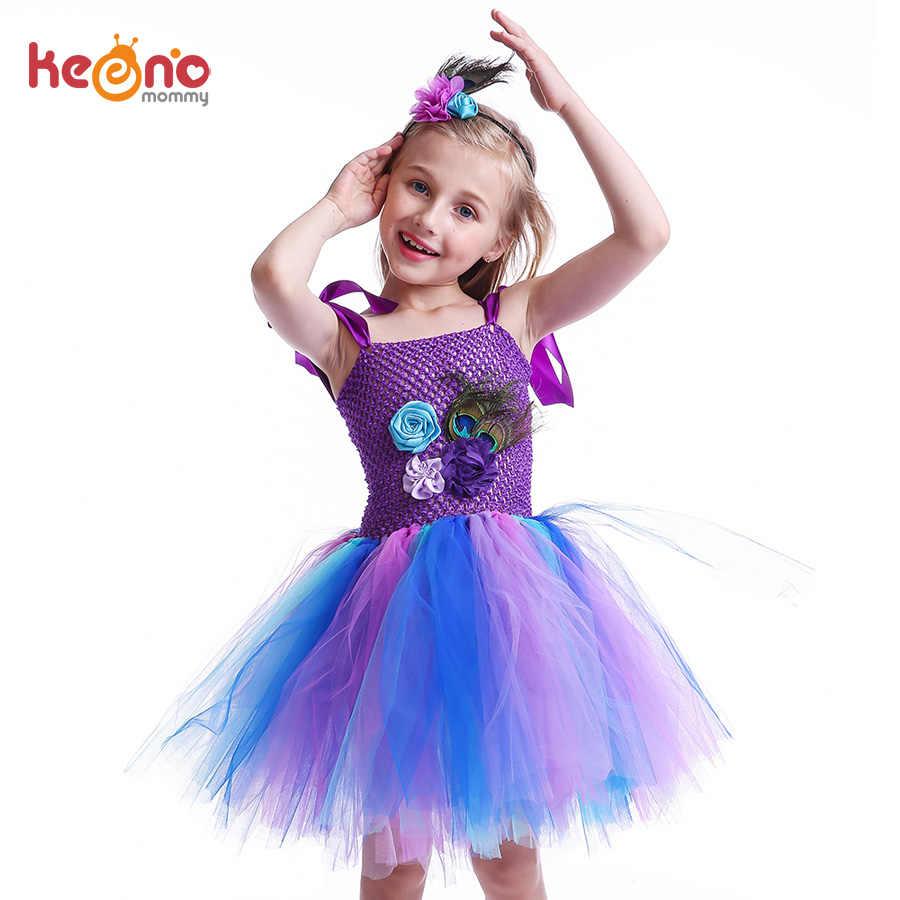 35d0d835c74 Принцесса девушки павлин цветок платье-пачка детское платье для дня рождения  пера павлина дети Пурим