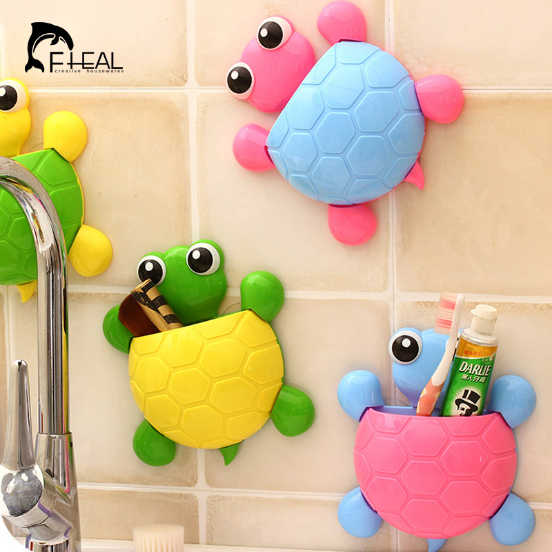 Fheal cute turtle sucker hook toothbrush holder cartoon for Cute bath accessories