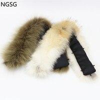 Custom 55 cm genuine fur coyote collar unisex Natural color real fur wolf collar Army green down jacket fur hat collar