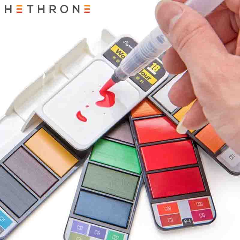 Hethrone New Arrival 18/25/33/42 Solid Watercolor Paints Portable Travel Painting Pigment Set Water Color Oil Brush Art Supplies