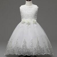 白い花の女の子レースチュチュドレス2016女の子夏聖体ウエディングイブニングドレス子供プリンセスドレス3-12y子供