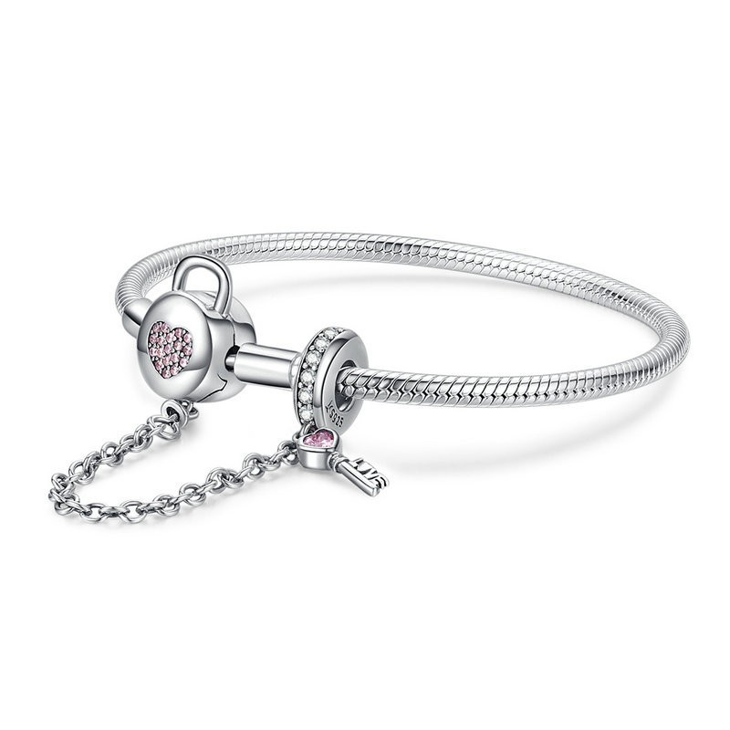 Bracelets serpent en argent 925 argent Sterling rose CZ serrure coeur et clé chaîne de sécurité bracelet à breloques pour femmes cadeau SCB143