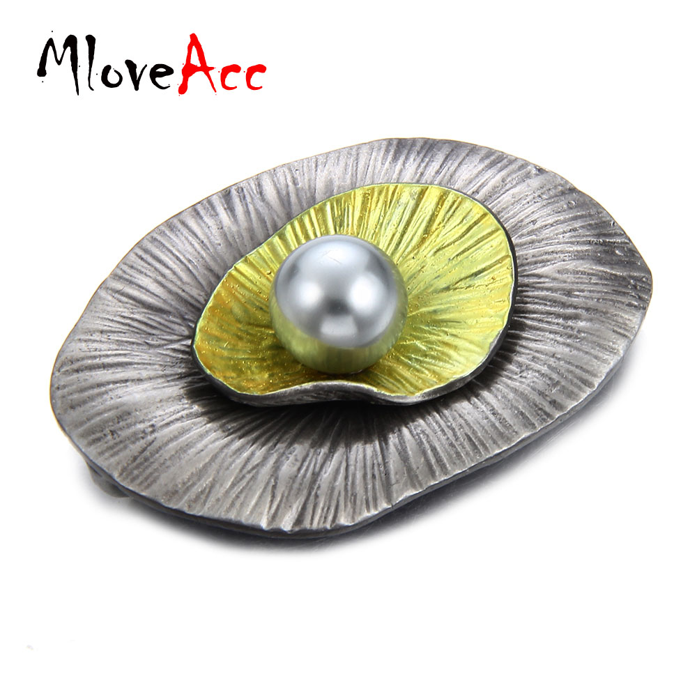 MloveAcc Vintage Safety Pin Brooches for Women Latest Design Leaf Shape Simulated Pearl Brooch Pendant Alloy