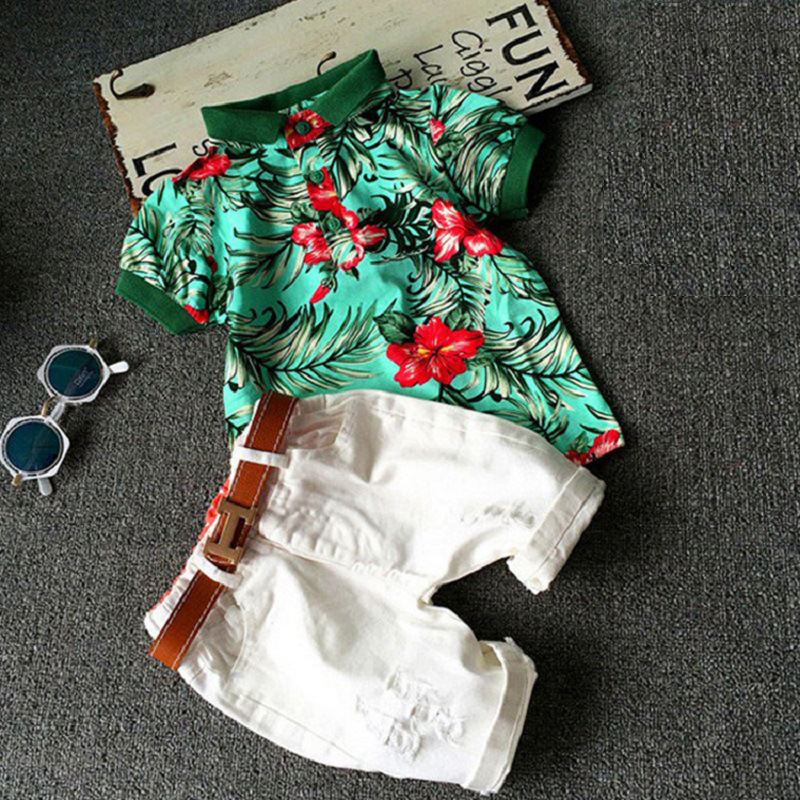 ideacherry Boys Summer Suit 2Pcs/Set T-shirt Pants Fit for 3-8 Year Old Boy 2018 New Style Children Handsome Party Clothes Sets handsome boy and summer gentleman shirt strap 2 suit factory direct