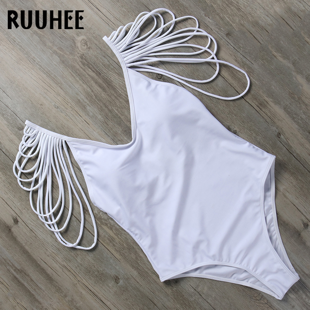 RUUHEE 2018 Swimwear Women Sexy One Piece Swimsuit Bathing Suit V-Neck Swimming Suit Solid Bodysuit Monokini Beachwear With Pad ruuhee one piece swimsuit swimwear bodysuit bikini set women black