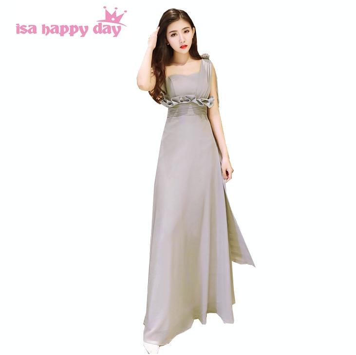 womens one-shoulder of strapless gray long blush fashion bridesmaid dress chiffon bride maid dresses for wedding 2020 B3965