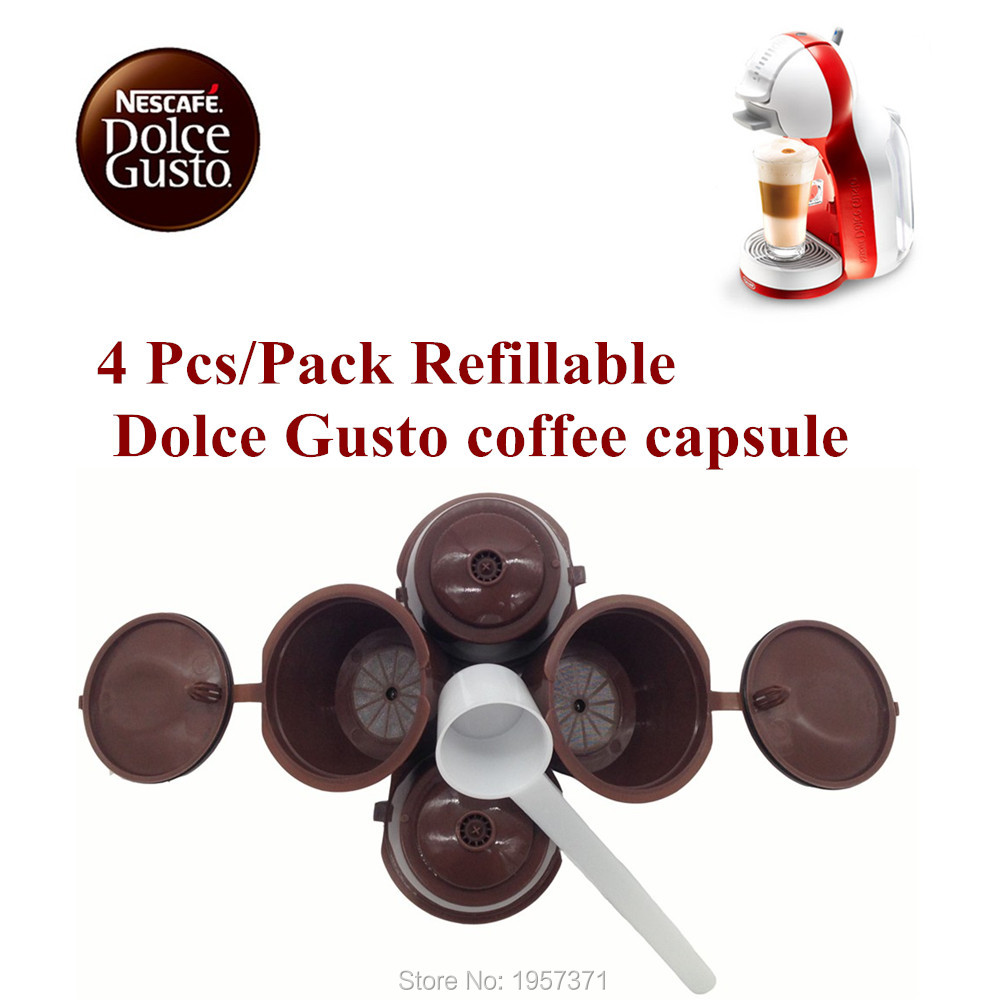 Buy 4 pcs set dolce gusto coffee capsule plsatic refillable - Suport capsule dolce gusto ...