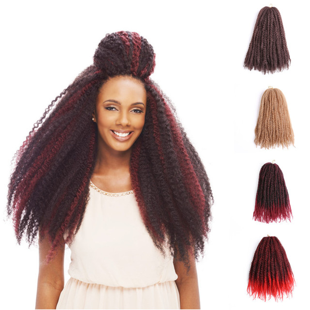 18inches Ombre Color Afro Kinky Twist Braid Colorful Kinky Curly