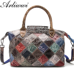 Image 3 - Arliwwi Brand Designer Women Genuine Leather Handbags Handmade Patchwork Female Real Leather Colorful Bags New Fashion GB08