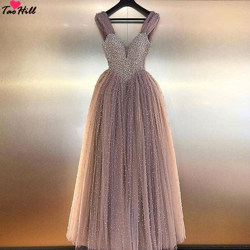 TaoHill Robe de Soiree Longue Evening Dresses Lebanon A-line Straps Deep V-neck Champagne Evening Party Dress Gown