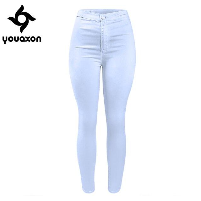 12ad20302 1888 Youaxon Moda Casual Básico das Mulheres De Cintura Alta Branca  Estiramento Skinny Jeans Calças Jeans