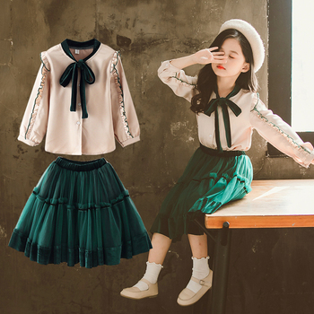 Preppy Style Girls Clothes Sets Spring Autumn Long Sleeve Shirts + Shirts 2PC Baby Kids Clothes Casual Teenager School Uniform girls plaid blouse 2019 spring autumn turn down collar teenager shirts cotton shirts casual clothes child kids long sleeve 4 13t